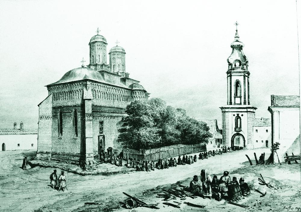 Jassy_(Iasi)_-_Trei_Ierahi_Monastery_(Raffet_1837)