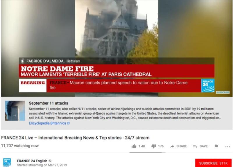 YouTube a crezut că incendiul de la Catedrala Notre Dame e fake news și l-a confundat cu 9/11