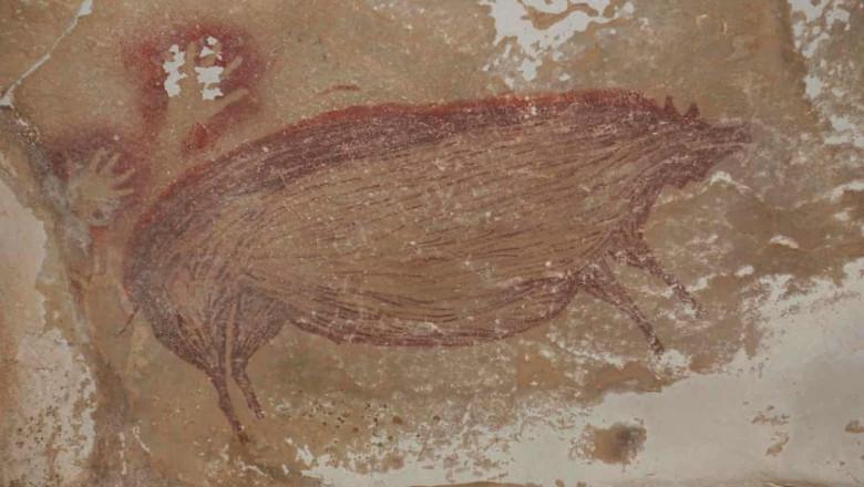 Arheologii au descoperit cea mai veche pictură rupestră. A fost realizată în urmă cu 45.500 de ani